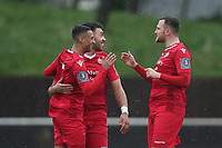 George Saunders of Hornchurch scores the first goal for his team and celebrates with his team mates during Hornchurch vs Merstham, BetVictor League Premier Division Football at Hornchurch Stadium on 15th February 2020