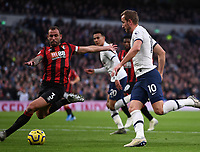 30th November 2019; Tottenham Hotspur Stadium, London, England; English Premier League Football, Tottenham Hotspur versus AFC Bournemouth; Steve Cook of Bournemouth defends a through ball under pressure  from Harry Kane of Tottenham Hotspur - Strictly Editorial Use Only. No use with unauthorized audio, video, data, fixture lists, club/league logos or 'live' services. Online in-match use limited to 120 images, no video emulation. No use in betting, games or single club/league/player publications