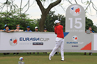 Poom Saksansin (Asia) on the 15th tee during the Singles Matches of the Eurasia Cup at Glenmarie Golf and Country Club on the Sunday 14th January 2018.<br /> Picture:  Thos Caffrey / www.golffile.ie