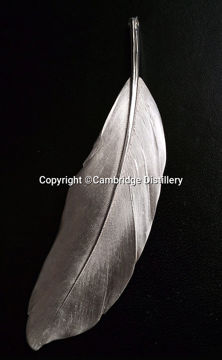 BNPS.co.uk (01202 558833)<br /> Pic: CambridgeDistillery/BNPS<br /> <br /> A silver feather which decorates the bottle.<br /> <br /> A British distiller has just launched the world's most expensive gin - with a 70cl bottle costing a staggering &pound;2,000.<br /> <br /> Just six bottles of the prized spirit were made by Cambridge's Will Lowe after he found a way to capture the 'angel's share' - the minuscule amount lost to evaporation during distilling - of his premium Japanese Gin.<br /> <br /> Canny Will painstakingly collected just 15 millilitres of the evaporated gin from each distillation, around one per cent of the entire batch, until he had enough to fill six decanters.<br /> <br /> The 45 per cent ABV gin, called Watenshi, has just gone on sale at upmarket London store Selfridge's - and with its massive &pound;2,000 price tag the exclusive tipple is more than four times the price of Dutch dry gin Nolet's Reserve, which at &pound;450 a bottle was previously regarded as the world's most expensive gin.