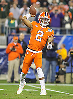 Charlotte, NC - December 2, 2017: Clemson Tigers quarterback Kelly Bryant (2) passes the ball during the ACC championship game between Miami and Clemson at Bank of America Stadium in Charlotte, NC.  (Photo by Elliott Brown/Media Images International) Clemson defeated Miami 38-3 for their third consecutive championship title.