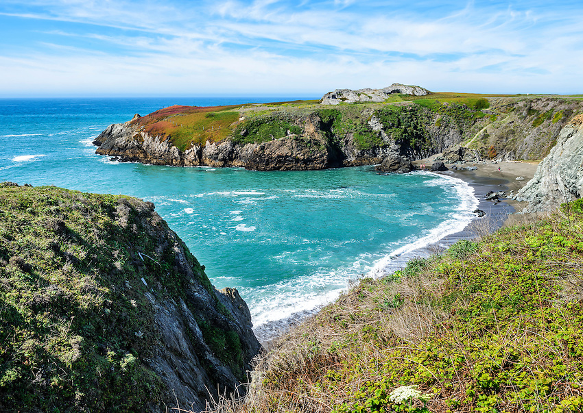View of Duncans Cove from the south. Duncans Cove is a small bay on the California coast in Sonoma County just north of Bodega Bay. The strip of land in the center of the photo is known as Duncans Point.
