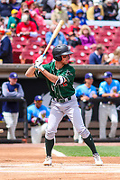 Great Lakes Loons shortstop Brandon Montgomery (6) at bat during a Midwest League game against the Wisconsin Timber Rattlers on May 12, 2018 at Fox Cities Stadium in Appleton, Wisconsin. Wisconsin defeated Great Lakes 3-1. (Brad Krause/Four Seam Images)