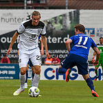 01.08.2020, C-Team Arena, Ravensburg, GER, WFV-Pokal, FV Ravensburg vs SSV Ulm 1846 Fussball, <br /> DFL REGULATIONS PROHIBIT ANY USE OF PHOTOGRAPHS AS IMAGE SEQUENCES AND/OR QUASI-VIDEO, <br /> im Bild Vinko Sapina (Ulm, #22), Thomas Zimmermann (Ravensburg, #11)<br /> <br /> Foto © nordphoto / Hafner