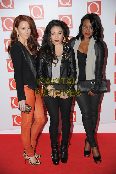 The original Sugababes - Siobhan Donaghy, Mutya Buena and Keisha Buchanan.The Q Awards 2012, Grovsnor Hotel, London, England..22nd October 2012.full length black blazer leather jacket grey gray orange jeans denim clutch bag.CAP/CAS.©Bob Cass/Capital Pictures.