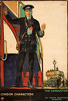 BNPS.co.uk (01202 558833)<br /> Pic: Onslows/BNPS<br /> <br /> London Characters - The Conducter<br /> <br /> A fascinating treasure trove of old London posters are expected to sell at auction for £20,000 after being discovered in a garage.<br /> <br /> They were produced circa 1920 by the Underground Electric Railway Company to promote the capital's underground, tram and bus networks.<br /> <br /> There is also a charming selection of 'London Characters' posters showing different walks of life including a news boy, a zookeeper, a flower woman and a Covent Garden porter.<br /> <br /> The collection of 35 posters were found rolled up in a garage lock up in Kensington, west London, while it was being cleared out.<br /> <br /> The vendor, a lady in her 80s, inherited them many years ago from her late aunt who was an artist in the 1920s and had her own studio.