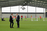 Friday 18th March 2016<br /> L-R Huw Jenkins and Ged Roddy of the Premier League in the indoor training barn<br /> Official opening of the Swansea City Landore Academy which includes a 3rd floor classroom, an extension and an indoor training barn