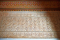 Berber Arabesque Mocarabe plasterwork.The Petite Court, Bahia Palace, Marrakesh, Morroco