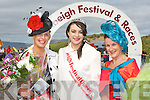 Festival Queen Grainne O'Riordan with the winner of best dressed lady Gillian Kelleher Rathmore (left) and  the runner up Maria Stack Listowel the Rossbeigh races on Sunday..
