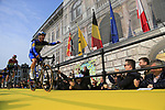 Deceuninck-Quick Step arrive on stage at the team presentation in Antwerp before the start of the 2019 Ronde Van Vlaanderen 270km from Antwerp to Oudenaarde, Belgium. 7th April 2019.<br /> Picture: Eoin Clarke | Cyclefile<br /> <br /> All photos usage must carry mandatory copyright credit (&copy; Cyclefile | Eoin Clarke)