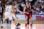 Real Madrid's Anthony Randolph and Luka Doncic and FC Barcelona Lassa's Petteri Koponen during Turkish Airlines Euroleague match between Real Madrid and FC Barcelona Lassa at Wizink Center in Madrid, Spain. March 22, 2017. (ALTERPHOTOS/BorjaB.Hojas)