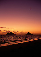 Morning twilight and sunrise, with crescent moon, Lanikai beach, Oahu, Hawaii