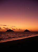 Morning twilight and sunrise, with crescent moon, Lanikai beach, Oahu, Hawaii