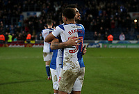 Blackburn Rovers' Derrick Williams and Blackburn Rovers' Elliott Bennett celebrate todays win at the end of todays match<br /> <br /> Photographer Rachel Holborn/CameraSport<br /> <br /> The EFL Sky Bet League One - Blackburn Rovers v Shrewsbury Town - Saturday 13th January 2018 - Ewood Park - Blackburn<br /> <br /> World Copyright &copy; 2018 CameraSport. All rights reserved. 43 Linden Ave. Countesthorpe. Leicester. England. LE8 5PG - Tel: +44 (0) 116 277 4147 - admin@camerasport.com - www.camerasport.com