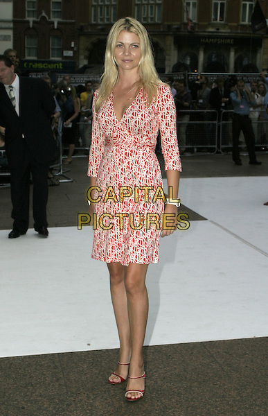 "GEMMA KIDD.""I, Robot"" film premiere arrivals .Odeon Cinema, Leicester Square.London 4th August 2004.CAP/AH.full length, red patterned, printed dress.www.capitalpictures.com.sales@capitalpictures.com.©Capital Pictures"