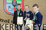 Lorcan Ryan, Emer O' Sullivan, Rory Dalton, 6th class winners of the Primary Science Quiz in the IT South Campus on Thursday 19th.  Tomás O' Hanafin, Betty Stack and Joan Holland
