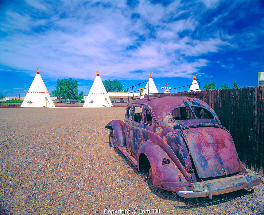 Wigwam Motel & '37 Ford Along Old Route 66  Holbrook, Arizona  Travelers stay in teepee units  July