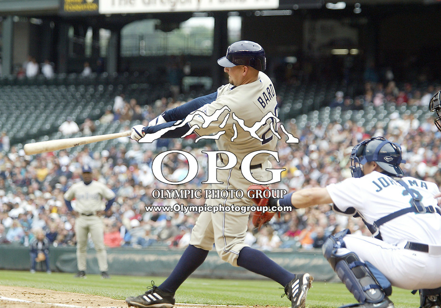 San Diego Padres catcher Josh Bard connects for a home run against the Seattle Mariners at Safeco Field in Seattle, Wa.