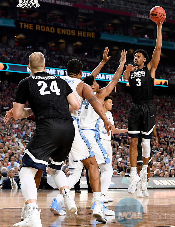 GLENDALE, AZ - APRIL 03: Johnathan Williams #3 of the Gonzaga Bulldogs shoots a jumper during the 2017 NCAA Men's Final Four National Championship game against the North Carolina Tar Heels at University of Phoenix Stadium on April 3, 2017 in Glendale, Arizona.  (Photo by Jamie Schwaberow/NCAA Photos via Getty Images)