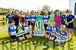 Tralee RFC  hosted the Women's Rugby World Cup trophy on Saturday. Pictured front l-r Emma Dunican, Milly Hayes, Ruth Kelliher, Emily Maye, Zala O'Connor, Ellen O'Sullivan Back l-r Bridget Sheehan,Kaitlyn O'Connell, Andrea Hayes, Aideen Lynch, Emily O'Regan, Ciara Sharp, Clodagh O Sullivan, Roisin Raggett, Cody Foster, Holly O'Byrne, Coach