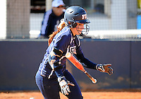 Florida International University outfielder Beth Peller (9) plays against the University of Massachusetts which won the game 3-1 on February 11, 2012 at Miami, Florida. .