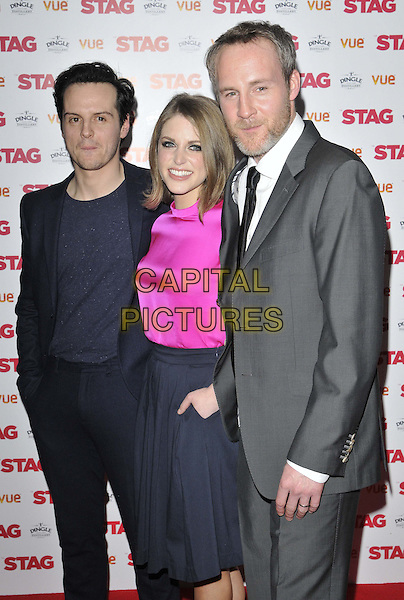 LONDON, ENGLAND - MARCH 13: Andrew Scott, Amy Huberman &amp; Peter McDonald attend the &quot;The Stag&quot; gala film screening, Vue West End cinema, Leicester Square, on Thursday March 13, 2014 in London, England, UK.<br /> CAP/CAN<br /> &copy;Can Nguyen/Capital Pictures