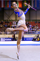 October 19, 2001; Madrid, Spain:  IRINA TCHACHINA of Russia performs with clubs at 2001 World Championships at Madrid.