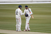 Rob Jones of Lancashire CCC congratulates Haseeb Hameed of Lancashire CCC on his century during Middlesex CCC vs Lancashire CCC, Specsavers County Championship Division 2 Cricket at Lord's Cricket Ground on 12th April 2019