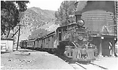 #346 pulling passenger train 315 with two baggage cars and two coaches.<br /> D&amp;RGW  Cimarron, CO  Taken by Best, Gerald M. - 6/12/1934