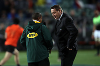 All Blacks coach Steve Hansen chats with Allister Coetzee before the Rugby Championship match between the New Zealand All Blacks and South Africa Springboks at QBE Stadium in Albany, Auckland, New Zealand on Saturday, 16 September 2017. Photo: Shane Wenzlick / lintottphoto.co.nz