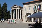 Croatia, Istria, Pula, Temple of Augustus, forum, Roman ruins, architecture, Istrian coast, Adriatic Sea, Europe,