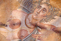 Close up of the head of the Metamorphosis of Ambrosia from the apse of the Triclinium room no 33 - Roman mosaics at the Villa Romana del Casale which containis the richest, largest and most complex collection of Roman mosaics in the world. Constructed  in the first quarter of the 4th century AD. Sicily, Italy. A UNESCO World Heritage Site.