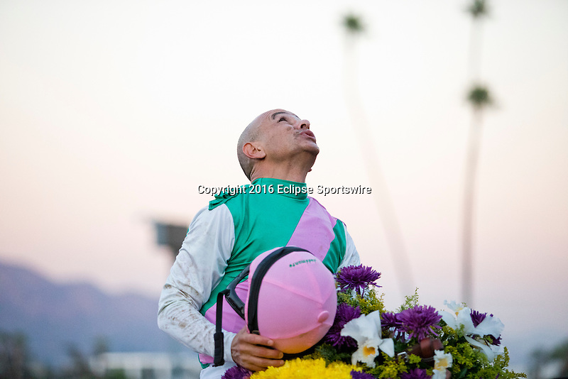 ARCADIA, CA - NOVEMBER 05: Arrogate #10, ridden by Mike Smith aster winning the the Breeders' Cup Classic during day two of the 2016 Breeders' Cup World Championships at Santa Anita Park on November 5, 2016 in Arcadia, California. (Photo by Jesse Caris/Eclipse Sportswire/Breeders Cup)