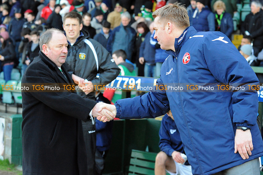 Yeovil Town Manager Gary Johnson  and Walsall Manager Dean Smith at the end of the match- Yeovil Town vs Walsall - NPower League One Football at Huish Park, Yeovil, Somerset - 29/03/13 - MANDATORY CREDIT: Denis Murphy/TGSPHOTO - Self billing applies where appropriate - 0845 094 6026 - contact@tgsphoto.co.uk - NO UNPAID USE.