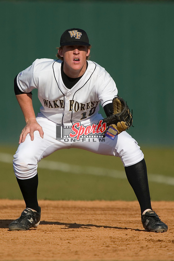 Wake Forest freshman first baseman Allan Dykstra (#10) assumes his defensive stance in game action versus Xavier at Gene Hooks Stadium in Winston-Salem, NC, Tuesday, February 28, 2006.  Dykstra belted 2 home runs in the Demon Deacons 18-3 thrashing of the Muskateers.