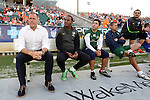 16 May 2015: New York head coach Giovanni Savarese (VEN) (left) with assistant coaches (from left) Carlos Llamosa (COL), Alecko Eskandarian, Simone Lucchesi, and Guillermo Valencia (COL). The Carolina RailHawks hosted the New York Cosmos at WakeMed Stadium in Cary, North Carolina in a North American Soccer League 2015 Spring Season match. The game ended in a 2-2 tie.