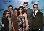 """Sas Goldberg, Gideon Glick, Rebecca Naomi Jones, Lindsay Mendez, John Behlmann and Luke Smith attends the Broadway Opening Night performance after party for """"Significant Other"""" at the Redeye Grill on March 2, 2017 in New York City."""