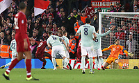 Liverpool's Sadio Mane drags a first half effort wide past Bayern Munich's Manuel Neuer<br /> <br /> Photographer Rich Linley/CameraSport<br /> <br /> UEFA Champions League Round of 16 First Leg - Liverpool and Bayern Munich - Tuesday 19th February 2019 - Anfield - Liverpool<br />  <br /> World Copyright © 2018 CameraSport. All rights reserved. 43 Linden Ave. Countesthorpe. Leicester. England. LE8 5PG - Tel: +44 (0) 116 277 4147 - admin@camerasport.com - www.camerasport.com