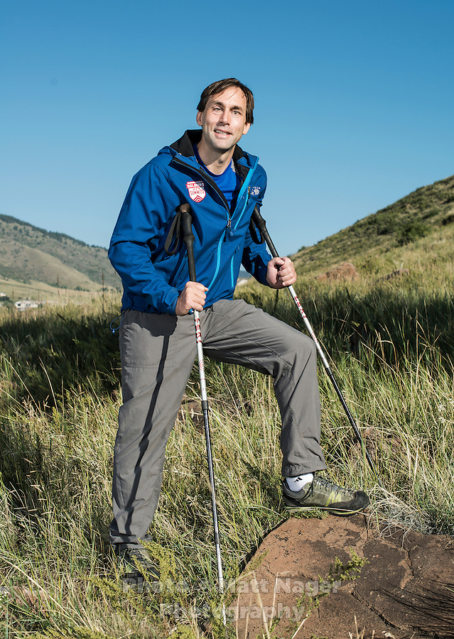 Blind Adventurer and Motivational Speaker Erik Weihenmayer near his home in Golden, Colorado on Friday, September 20, 2013. Despite losing his vision at the age of 13, Erik Weihenmayer has become one of the most accomplished adventurers in the world. Weihenmayer is the only blind person who has reached the summit of Mount Everest and the tallest peak on each continent.<br /> <br /> Photo by Matt Nager