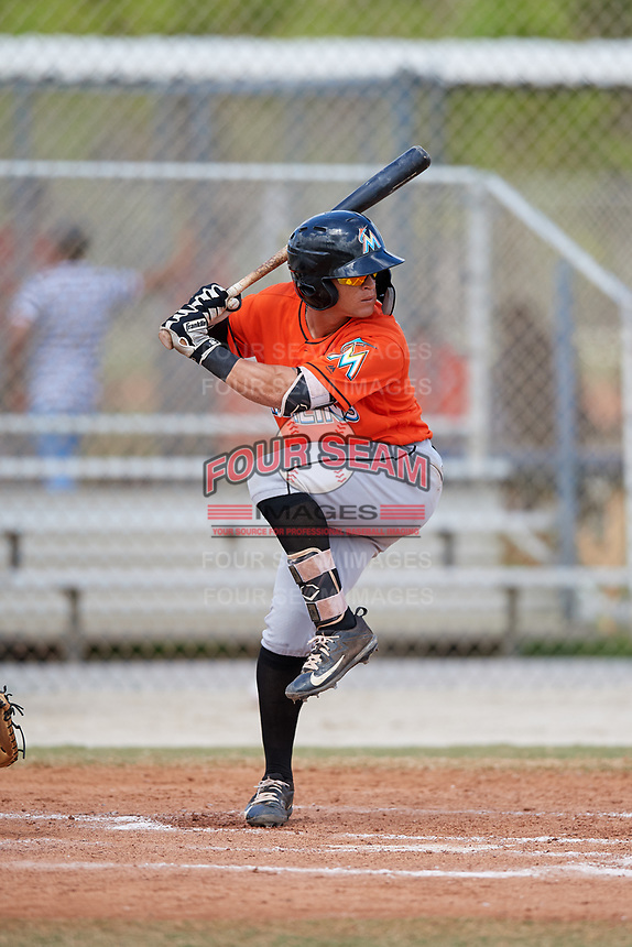 Miami Marlins Luis Pintor (2) during a Minor League Spring Training game against the St. Louis Cardinals on March 26, 2018 at the Roger Dean Stadium Complex in Jupiter, Florida.  (Mike Janes/Four Seam Images)