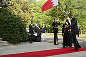 United States President Barack Obama (R) welcomes Salman bin Hamad Al-Khalifa, Crown Prince of The Kingdom of Bahrain to the White House May 13, 2015 in Washington, DC. Obama is hosting a summit of the Persian Gulf countries in Washington and at Camp David tomorrow.  <br /> Credit: Chip Somodevilla / Pool via CNP