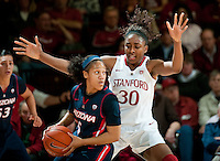 STANFORD, CA - JANUARY 6: Nnemakadi Ogwumike covers the offense against the University of Arizona at Maples Pavilion, January 6, 2011 in Stanford, California.