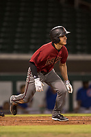 AZL Diamondbacks left fielder Alek Thomas (5) starts down the first base line during an Arizona League game against the AZL Cubs 1 at Sloan Park on June 18, 2018 in Mesa, Arizona. AZL Diamondbacks defeated AZL Cubs 1 7-0. (Zachary Lucy/Four Seam Images)