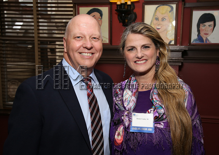 John Fuedo and Bonnie Comley attend the UMass Lowel Cockail Party for 'Sunset Boulevard' hosted by Chancellor Jacquie Moloney, Bonnie Comley and Stewart F. Lane at Sardi's on April 5, 2017 in New York City