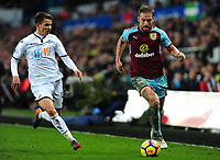 Swansea City's Tom Carroll vies for possession with Burnley's Charlie Taylor<br /> <br /> Photographer Ashley Crowden/CameraSport<br /> <br /> The Premier League - Swansea City v Burnley - Saturday 10th February 2018 - Liberty Stadium - Swansea<br /> <br /> World Copyright &copy; 2018 CameraSport. All rights reserved. 43 Linden Ave. Countesthorpe. Leicester. England. LE8 5PG - Tel: +44 (0) 116 277 4147 - admin@camerasport.com - www.camerasport.com