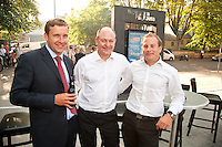 Posing by the Playhouse sign are from left Chris Pole of KPMG, Chris Radford of Gateleya and Ben Peterson of BDO