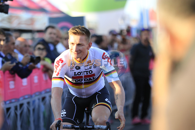 Andre Greipel (GER) Lotto-Soudal at the Team Presentation in Alghero, Sardinia for the 100th edition of the Giro d'Italia 2017, Sardinia, Italy. 4th May 2017.<br /> Picture: Eoin Clarke | Cyclefile<br /> <br /> <br /> All photos usage must carry mandatory copyright credit (&copy; Cyclefile | Eoin Clarke)