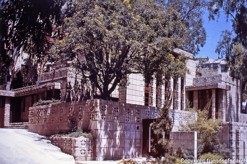 Frank Lloyd Wright: John Storer House, Hollywood, 1923.  Mayan influence with textile block building and walls.  Photo April 2000.
