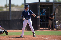 San Diego Padres third baseman Hudson Potts (10) at bat during an Extended Spring Training game against the Colorado Rockies at Peoria Sports Complex on March 30, 2018 in Peoria, Arizona. (Zachary Lucy/Four Seam Images)