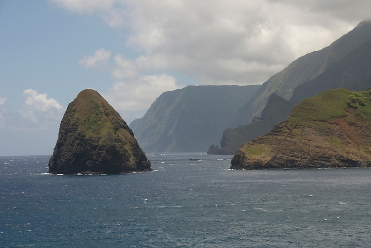 Hawaii: Molokai, cliffs and seafins at Kalawao, with view of Waikoloa River Valley, scenic. .Photo himolo109-71889.Photo copyright Lee Foster, www.fostertravel.com, lee@fostertravel.com, 510-549-2202